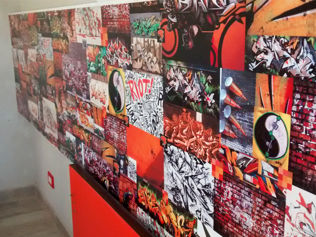 Gráfica sobre pared